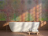 Modern contemporary bathroom with wood lattice wall 3d render.