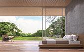 Modern contemporary bedroom 3d rendering image.
