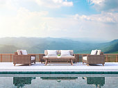 Contemporary pool terrace with mountain view 3d render