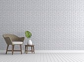Vintage living room with white brick walls 3d render
