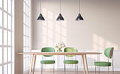 Vintage style dining room with green chair 3d render