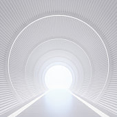Modern white interior with tunnel space 3d rendering image