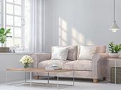 Vintage living room 3d rendering image