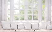 Modern white living room 3d rendering image