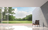 Modern Loft living room with garden view 3d rendering image