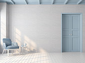 Vintage empty room with blue pastel color 3d render