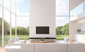 Modern white  living room with nature view 3d rendering image
