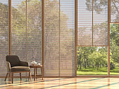 Modern contemporary living room with wooden curtain 3d render