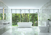 Modern luxury bathroom with nature view 3d rendering image