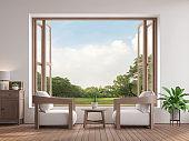 Modern contemporary living room 3d render