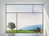 Minimal style empty room with nature view 3d render