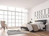 Scandinavian bedroom with large window 3d render