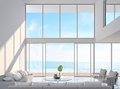 Modern white house interior with sea view 3d render