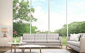 Modern white  living room 3d render