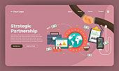 Mock-up design website flat design concept digital marketing. Strategic Partnership.  Vector illustration.