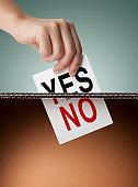 Vote yes and vote no. Ballot box.