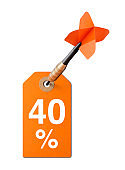 Sale price tag for 40% discount promotions with dart