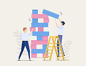 Business risks, brave step, vector concept. Business competition. Two businessmen are playing the tower game.