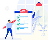 Man stands with big check list,Planning schedule concept banner with characters. Successful time management, planning.