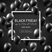 Black Friday sale promo poster with shiny balloons.