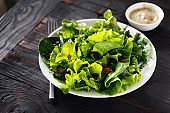 Bowl fresh green lettuce various lettuce leaves wooden table