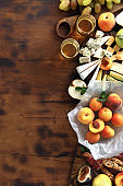 Appetizers table for wine Various wine snacks top view flat lay