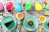 Chocolate cake, muffins and decoration party