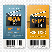 Cinema tickets background. Vector movie poster illustration