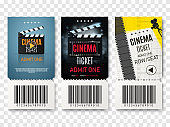 Collection of different cinema tickets. Vector illustration