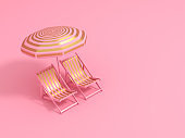 Luxury stripe gold chairs and umbrella on pastel pink background. Summer with love. 3d rendering illustration