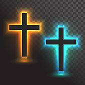 Vector glowing cross