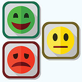 set of evaluation emoticons