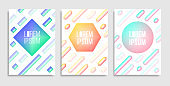 Three Modern fest and electro summer poster. Club party flyer,  brochures, invitations or gifts cards. Art graphics for hipsters. Vector illustration