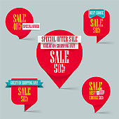 Set of special offer sale red tag. sale and discount promo pointer on shopping day, 50% off discount sticker isolated on gray background.