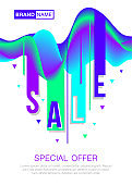 White sale poster with trendy 3D Wavy Background. Sale and discount design templates. dynamic effect. Vector illustration