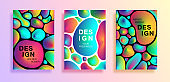 Set of poster or covers with colorful plasma drops shapes. abstract bright liquid drops on white and black background for flyers, card, brochure, web design, vector illustration. EPS10