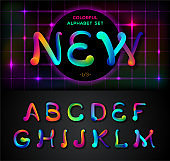 Colorful dynamic liquid ink alphabet. Color mixing thick oil paint font in style 80s. Neon rainbow alphabet! Set of 1\3