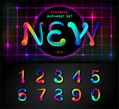 Colorful dynamic liquid ink alphabet. Color mixing thick oil paint font in style 80s. Neon rainbow alphabet! Set of 3\3