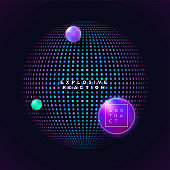 Abstract vector modern geometric shape from colorful dots and gradient bubble on dark background. Modern technology. Electronic music festival or club party poster design.