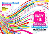 Creative template for Indian festival Happy Holi celebrations with multi color splash and strips on white background. Beautiful Indian festival Happy Holi.