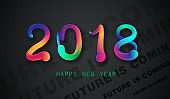 2018 New Year posters with liquid color shapes. Year of the dog! Futuristic trendy abstract covers. Vector illustration Eps10.