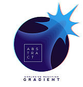 Explosive gradient banner composition, colorful topography blend shapes, distortion effects. Eps10 vector.