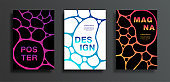Covers or posters set with dark spot on colorful gradient background. Abstract bright grid design for flyers, card, brochure, web, vector illustration. Colored sticky liquid. EPS10