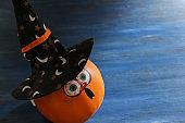 Halloween Pumpkin with Witch Hat