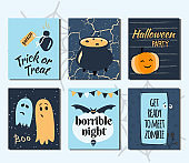Halloween hand drawn set of cards. Vector illustration.