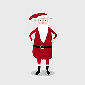 Cute Santa Claus with glasses. Vector illustration.