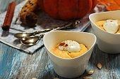 Homemade Pumpkin Mousse / Thanksgiving Dessert, selective focus