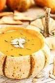 Butternut Squash soup served in mini pumpkin bowl/ Thanksgiving food