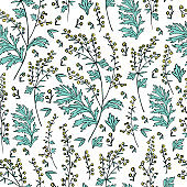 Seamless floral vector pattern Artemisia vulgaris, wormwood common hand drawn colorful illustration isolated on white background, Also called absinthium, Absinthe plant for design cosmetic