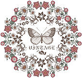 Wedding marriage invitation. Beautiful blooming flowers. Vintage greeting card Frame Drawing engraving. Butterfly, moth, insects, fauna isolated floral. Wallpaper background vector Illustration